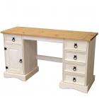 Psací stůl CORONA 16334B borovice masiv bílý vosk