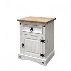 Noční stolek CORONA 16345B borovice masiv bílý vosk