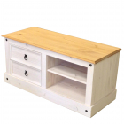 TV stolek CORONA 161017B borovice masiv bilý vosk