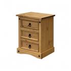 Noční stolek CORONA 16347 tři zásuvky borovice masiv vosk