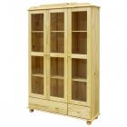 Vitrína 8053 troje prosklené dveře 2 zásuvky borovice masiv