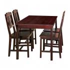 Jídelní set stůl + 4 židle 8849 borovice masiv tmavě hnědý